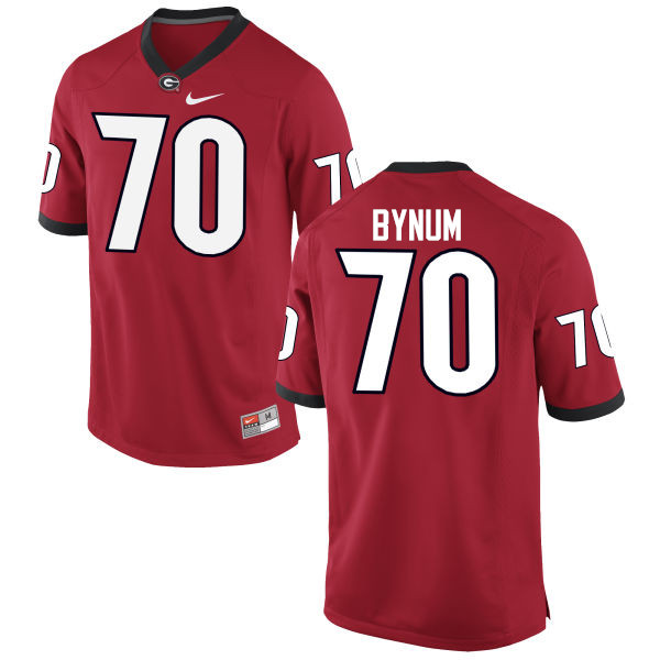 Men Georgia Bulldogs #70 Aulden Bynum College Football Jerseys-Red