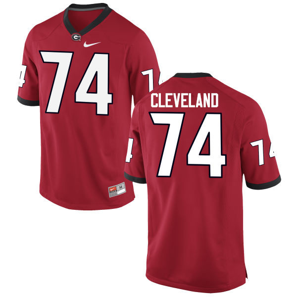 Men Georgia Bulldogs #74 Ben Cleveland College Football Jerseys-Red
