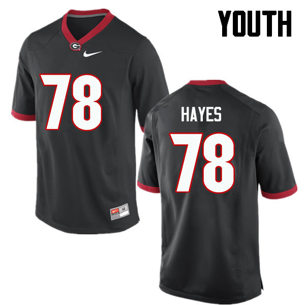 Youth Georgia Bulldogs #78 DMarcus Hayes College Football Jerseys-Black