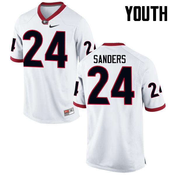 Youth Georgia Bulldogs #24 Dominick Sanders College Football Jerseys-White