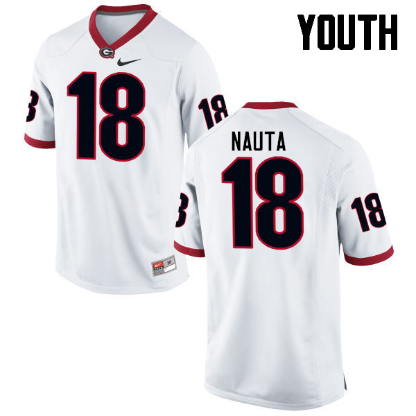 Youth Georgia Bulldogs #18 Isaac Nauta College Football Jerseys-White