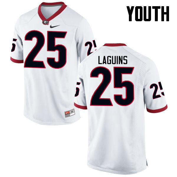 Youth Georgia Bulldogs #25 Jaleel Laguins College Football Jerseys-White