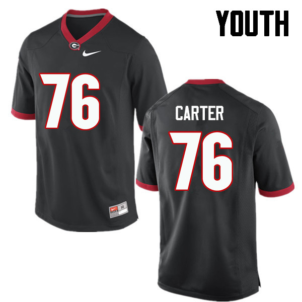Youth Georgia Bulldogs #76 Michail Carter College Football Jerseys-Black