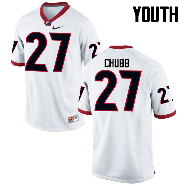 Youth Georgia Bulldogs #27 Nick Chubb College Football Jerseys-White