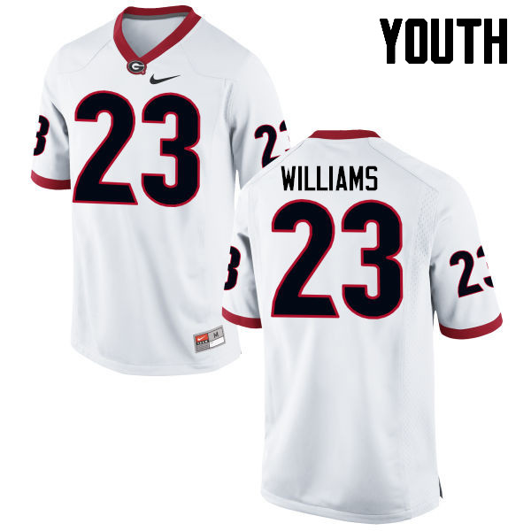 Youth Georgia Bulldogs #23 Shakenneth Williams College Football Jerseys-White