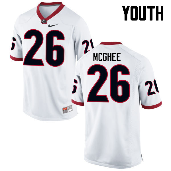 Youth Georgia Bulldogs #26 Tyrique McGhee College Football Jerseys-White