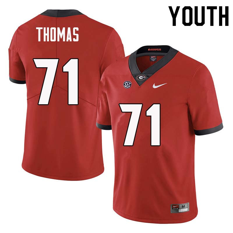 Youth Georgia Bulldogs #71 Andrew Thomas College Football Jerseys Sale-Red