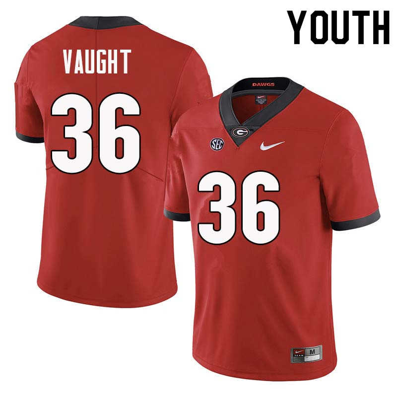 Youth Georgia Bulldogs #36 Bender Vaught College Football Jerseys Sale-Red