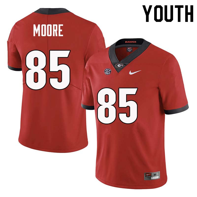 Youth Georgia Bulldogs #85 Cameron Moore College Football Jerseys Sale-Red