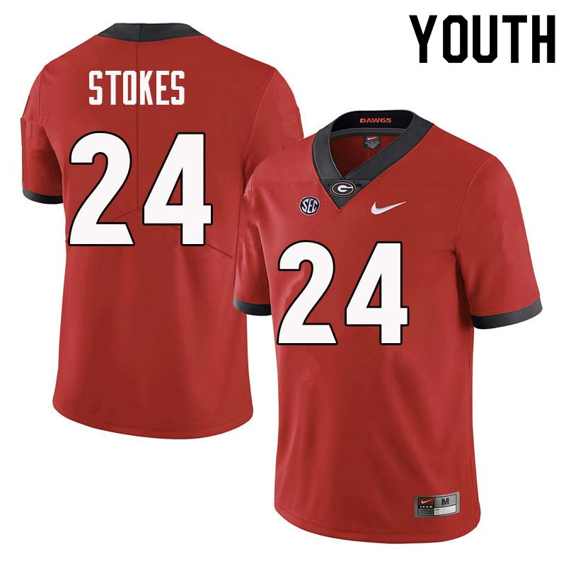 Youth Georgia Bulldogs #24 Eric Stokes College Football Jerseys Sale-Red