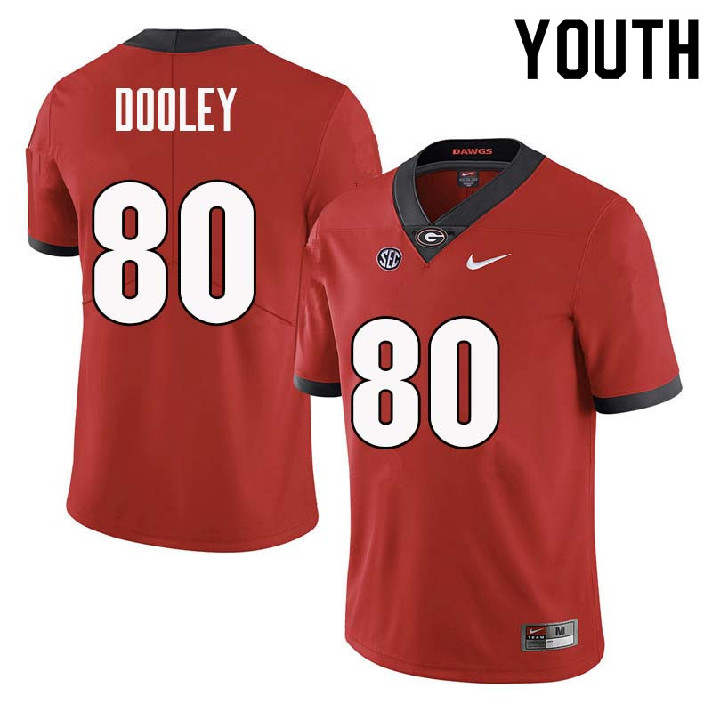 Youth Georgia Bulldogs #80 J.T. Dooley College Football Jerseys Sale-Red