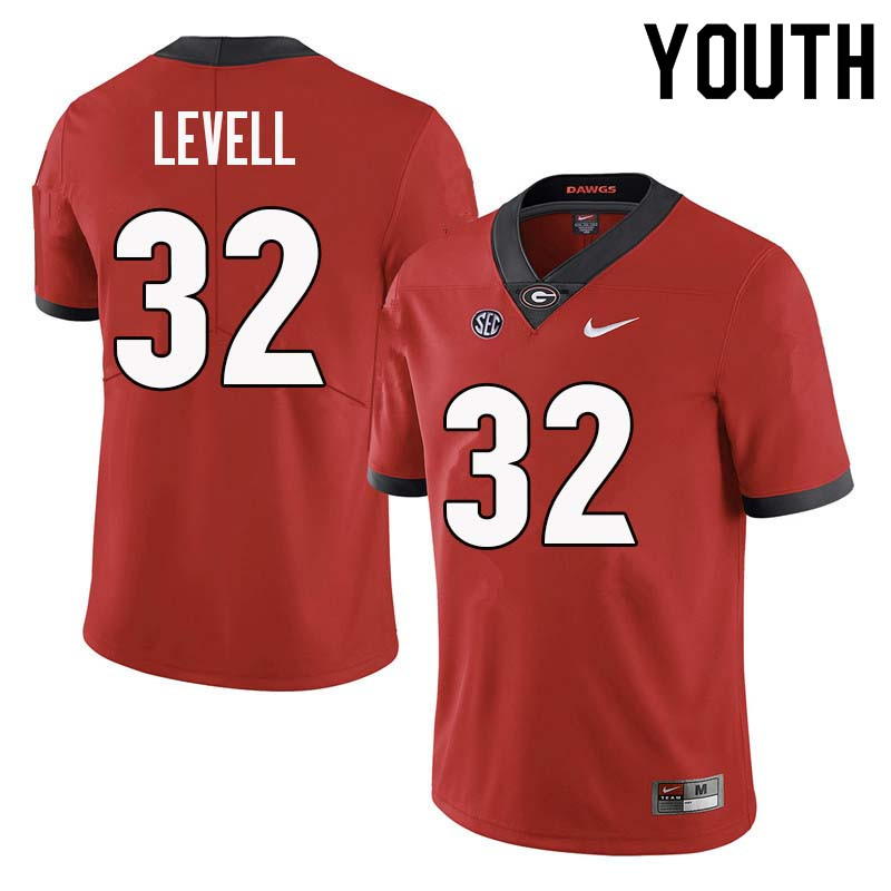 Youth Georgia Bulldogs #32 Kyle Levell College Football Jerseys Sale-Red